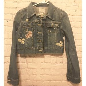 Old Navy Distressed Denim Jacket with Embroidery